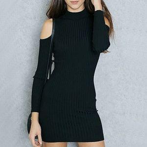 Forever 21 Cold Shoulder Ribbed Dress Black Size S